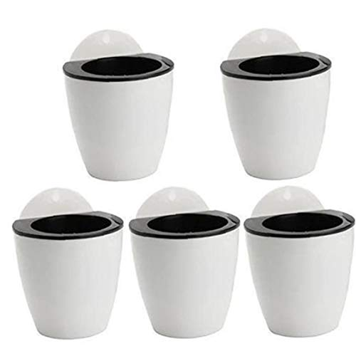 TongICheng 5Pcs Wall Hanging Flower Pot Succulent Plants Pot Planter Plastic Self-watering Lazy Wall Flower Pot with 5 Hooks Indoor Outdoor (Black White)