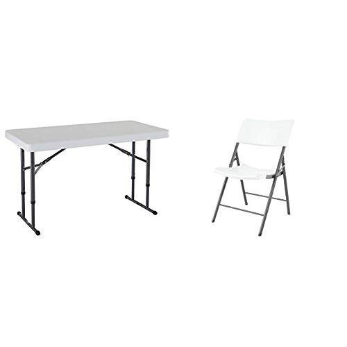 Lifetime 4 ft (1.22 m) Commercial Adjustable Height Folding Table, White with Set of 4 Chairs