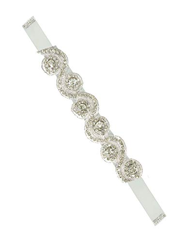 sourcingmap® Frauen Strass Perlen Dekor Satin Band Braut Gürtel Geschenk Gurt grau