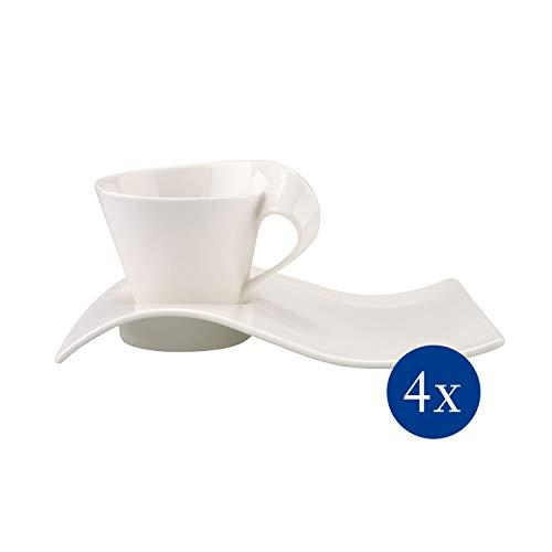 Villeroy und Boch NewWave Caffè Cappuccino-Set, 8-teilig, Premium Porzellan, Weiß