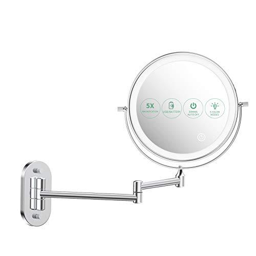 alvorog Specchio Trucco con Luce LED, Specchio Ingranditore 1x/5x a 36 LED con 3 Colori di Luci, Specchio Parete con Luce Regolabile e Rotazione a 360°, 8' Specchio da Bagno con Carica USB o Batteria