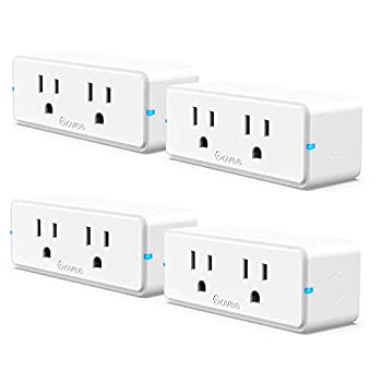 Govee Dual Smart Plug 4 Pack 15A WiFi Bluetooth Outlet Work with Alexa and Google Assistant 2-in-1 Compact Design Govee Home App Control Remotely with No Hub Required Timer FCC and ETL Certified