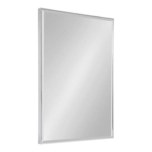 Kate and Laurel Rhodes Large Framed Decorative Rectangle Wall Mirror, 24.75x36.75 Chrome -