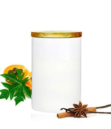 Sendez Weiße Vorratsdose 800ml mit Holzdeckel Gummidichtung Porzellan Vorratsbehälter Dose #4