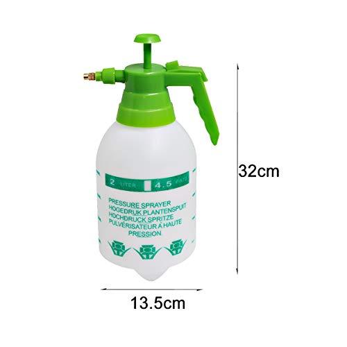 ALLPER Botella pulverizadora, Bomba de presión/vaporización, 2 litros Modelo Blanco con Mango Verde (31x12,5 cm). Boquilla Ajustable, Diferentes capacidades.
