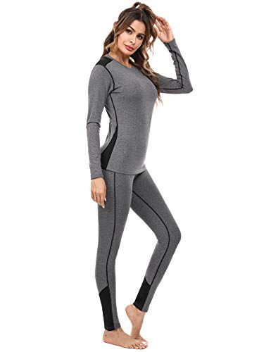 Sykooria Conjuntos Térmicos para Mujer Ropa Interior Deporte Térmica de Invierno Camiseta Manga Larga y Leggins Esquí Correr Fitness Ciclismo