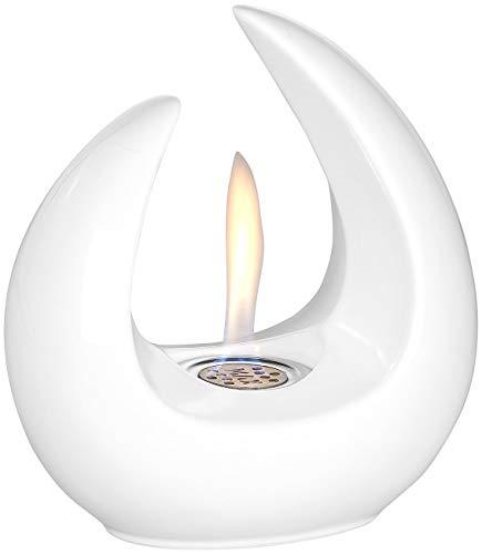 Carlo Milano Incendio nel Patio Etanolo: Design Fuoco da Tavolo Decorativo per bioetanolo, Cassa in Ceramica, 53 ml, Bianca (Fuoco Decorativo Esterno con Bioetanolo)