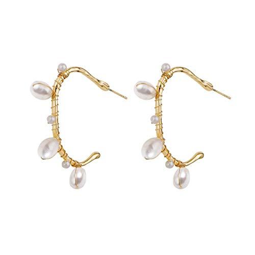 Ynnxia Ohrringe Natürliche Süßwasserperlen Ohrringe Vintage Ohrringe Barock Ohrringe für Frauen und Mädchen