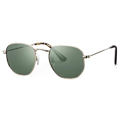 Avoalre Gafas de Sol Mujer Hexagonales Polarizadas en Moda 2020 Protección UV400 Lentes de TAC PL Color Verde con Marco de Acero Inoxidable para Viaje Playa Conducir Playa