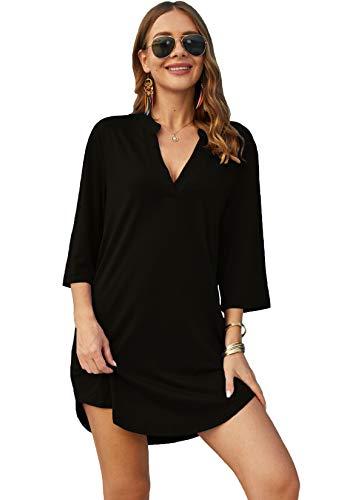 POGTMM Damen Bikini Bluse Cover Up 3/4 Ärmeln V-Ausschnitt mit Taschen Leichte Sommer Tunika Lang Große Größen Hemd Kleid Blusenshirt Strandponcho (XL,Schwarz)