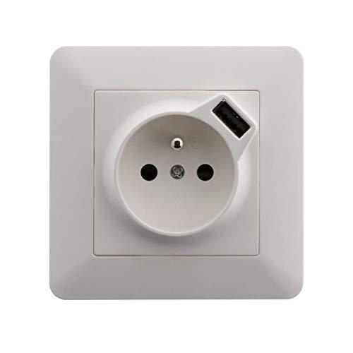 Artezo Prise 2P+T 16A encastrable équipée d'une prise USB (2,4A*) Blanc