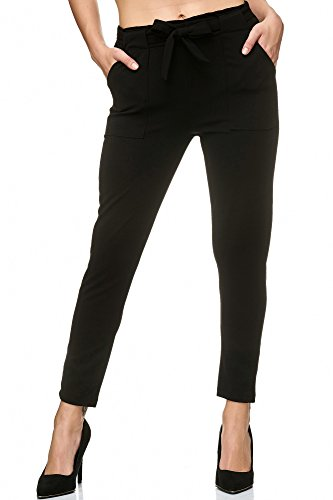 Elara Damen Stretch Hose Slim Fit Chunkyrayan P 7722 Black 46/3XL (Herstellergröße 52)
