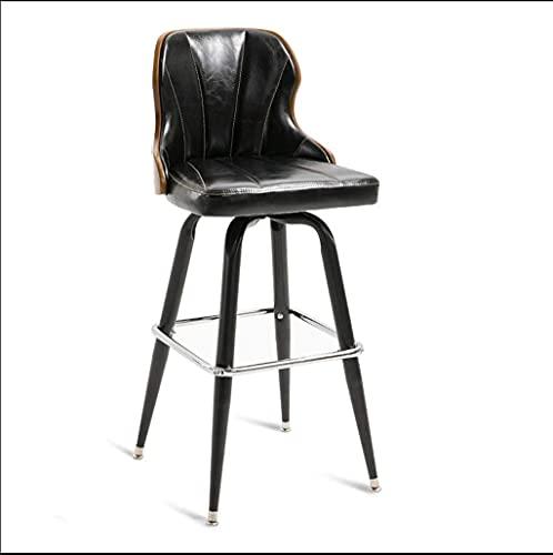 NUBAOgykongtiao Silla de comedor, taburete de bar, taburete giratorio, silla de recepción, silla alta, silla de hierro de madera maciza, color rojo (color: negro)
