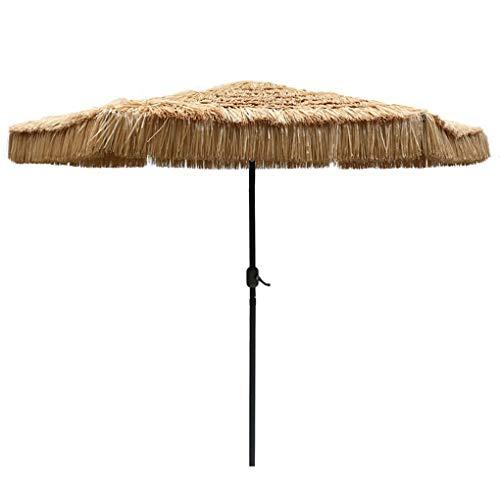 WenFei shop Gartenschirm, 8.8ft Hawaiian Beach Straw Sonnenschirm Regenschirm für Beach Patio Market, Basis Nicht enthalten, natürliche Farbe