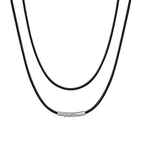 ChainsHouse Collar Negro Acero 61cm Collar de Cuero Hombre Mujer Cordon Colgante Hombre, Regalo Novia San Valentín