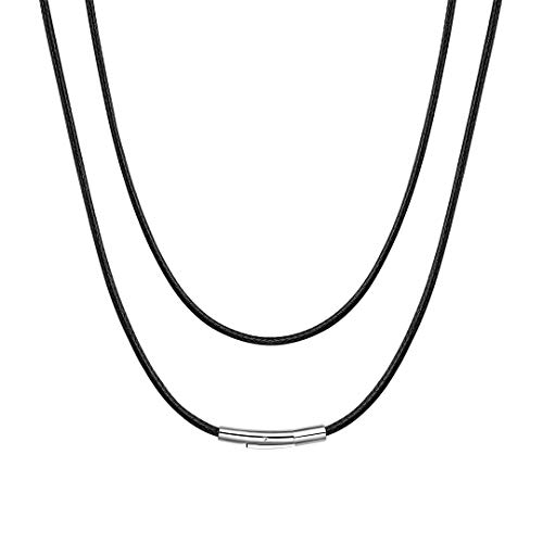 ChainsHouse Collar de Cuero Cordon para Colgante Collares Negros Mujer Hombre, 51cm Largo 2mm Ancho Collares de Piel