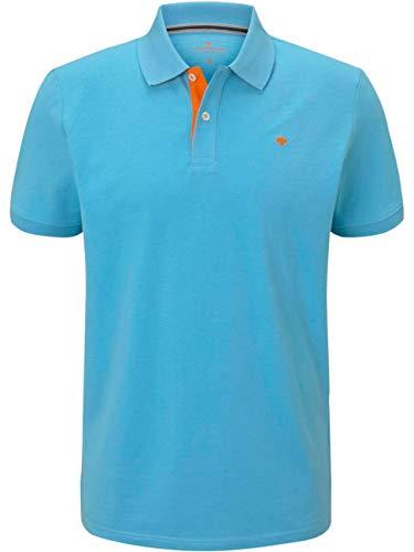TOM TAILOR Herren Basic mit Kontrast Polohemd, 21946-north Blue, XL