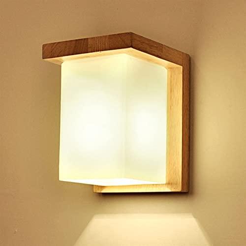 Kioiien Lámpara de Pared de la Creatividad nórdica, Pared de Madera luz de Cristal de la Pared de Madera Simple Moderno Rectangular lámpara de Madera Maciza escono iluminación iluminación Lujoso Sala
