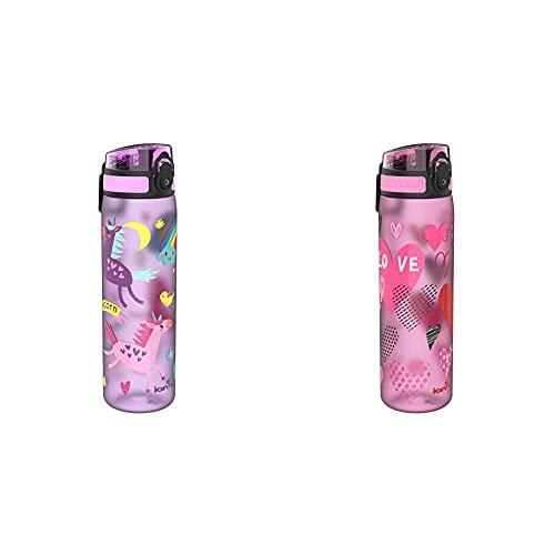 Ion8 Sottile, Borraccia Senza Perdite, Senza BPA Unisex, Multicolore (Unicorni), 500 ml & Sottile, Borraccia Senza Perdite, Senza BPA Unisex, Multicolore (Cuori), 500 ml