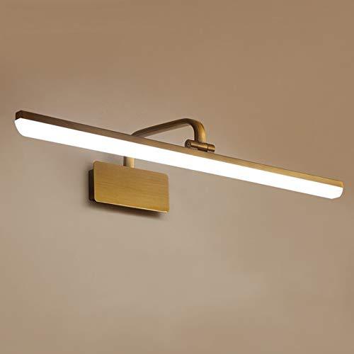 DESLP Lampara de Espejo Baño Vintage, Aplique Espejo Bronce LED con Cabeza...