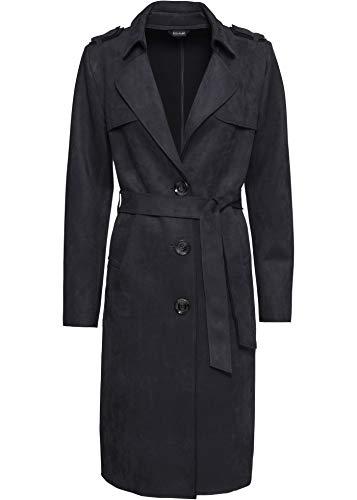 bonprix Modischer Trenchcoat-Mantel aus Velourslederimitat schwarz 34 für Damen