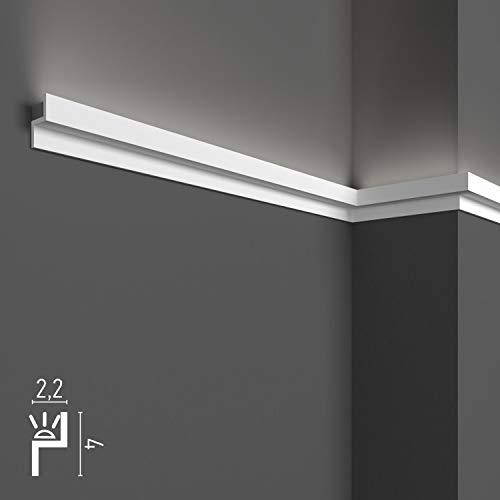 4 mètres linéaires de corniches décoratives pour LED de plafond et de mur, moulures pour éclairage indirect avec bandes LED, en duropolymère (lot de 4 profilés de 1 m - KH902)