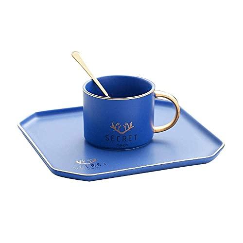 XYJ Tazas de café Trazado de cerámica Oro Hecho a mano Utensilios Capacitación Pequeña Capacidad Familia Tea Tea Copa de Tea Placa de Postre con Cuchara Adecuado para Restaurante Oficina de Hotel Rega