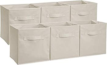 Amazon Basics Collapsible Fabric Storage Cubes Organizer with Handles Beige - Pack of 6