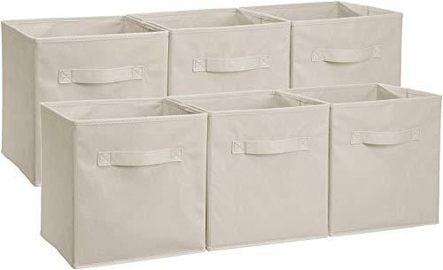Amazon Basics - Aufbewahrungsboxen in Würfelform, faltbar, 6er-Pack, Beige