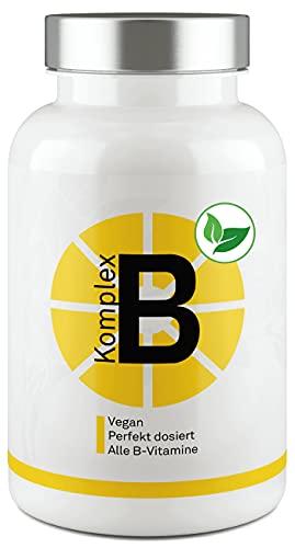 Vitamin B Komplex 100{811e529df6067e7357f64b7a0555ddf34a8be0fa89cb8b7579c43a69b1945319} – Perfekt dosiert mit bioaktivem B-Vitamin - Keine Zusatzstoffe - Extra: Ginkgo Biloba - 180 Portionen von Valuelife