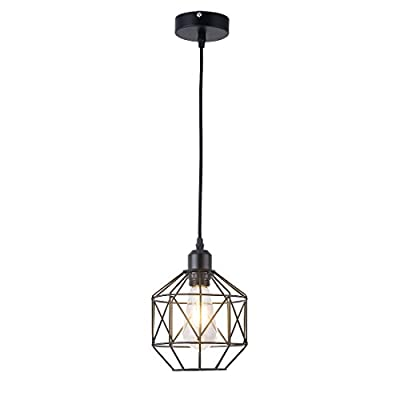 Pendant Light,Retro Style,Vintage Loft Design,Black Basket Cage Hanging Ceiling Lamp,Industrial Lighting Fixture and Decoration for Living Room Bedroom
