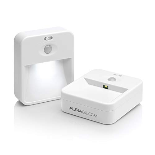 Auraglow 2.4ghz Wireless Networked Indoor PIR Motion Sensor LED Night Light System for Home Safety and Security, Ideal for Hallways and Stairs - Twin Pack