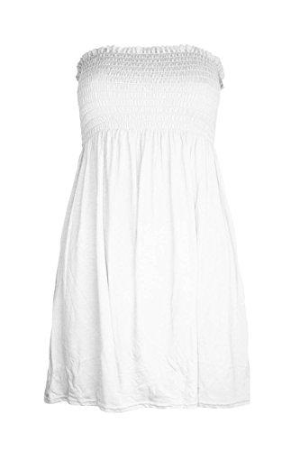 New Womens Ladies–Camiseta sin mangas con fruncido, color liso, acampanada Blanco blanco 16