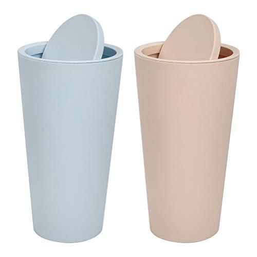 2 Piece Car Dust Bin Cup with Shaking Cover Car Trash Can Auto Interior Garbage Trash Set Dustbin Storage Barrel Mini Storage Organizer Box for Car Office Home (Beige + Blue)