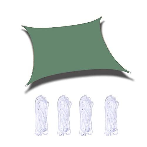 ZPYXBH Vela De Sombra Solar Rectángulo, Toldo Vela De Sombra UV Prevención Permeable Transpirable, Velas De Sombra para Jardín Patio Terraza Balcón Exteriores Pérgola con Cuerda,Dark Green,9.8'x13'