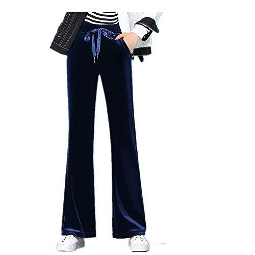Casual Boutique - Pantalones de terciopelo dorado para mujer