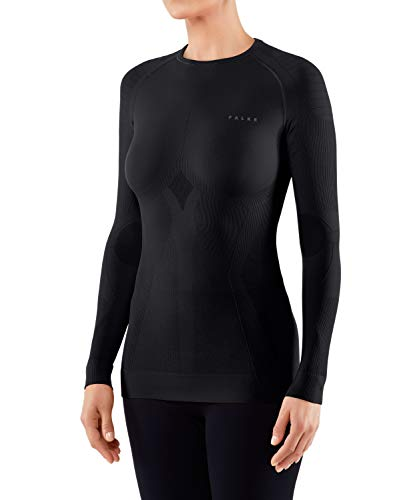 FALKE Damen, Langarmshirt Maximum Warm long sleeve close fit Funktionsfaser, 1 er Pack, Schwarz (Black 3000), Größe: S