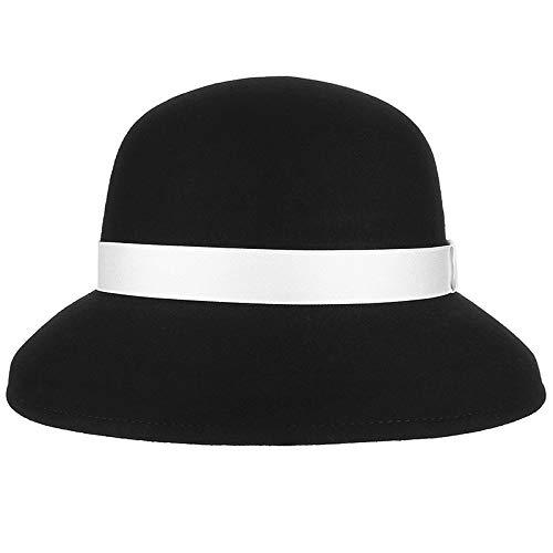 LUOXUEFEI Gorras Lady Hat Sombreros De Bombín De Invierno Mujeres con Cinta Gorra De Cúpula De Fieltro Gris Negro