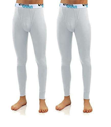 Sesto Senso® Caleçon Long Lot de 2 Coton 95% Pantalon sous-Vêtements Bas Thermique Homme (M, Blanc)