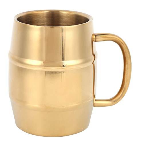 Aigid Taza de café Acero Inoxidable, Taza de Viaje de Doble Pared de 300 ml, Taza de Metal con asa, Vaso Dorado para Acampar, Senderismo, Actividades al Aire Libre, en Interiores