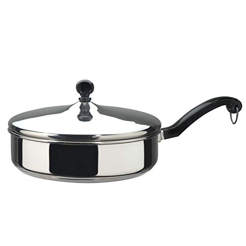 Farberware Classic Stainless Steel Saute Fry Pan with Lid,...