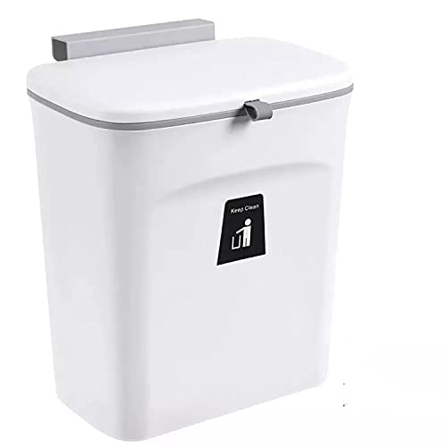壁掛けゴミ箱 キッチンゴミ箱 ぶら下げごみ箱 9L 大容量 大口径 高耐荷重 耐久 ふた付き 省スペース 収納バケツ 浴室 車用 ゴミ箱 洗面所用 ホワイト