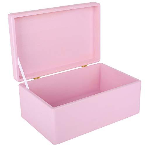 Creative Deco Rosa Große Holzkiste Aufbewahrungsbox Spielzeug | 30 x 20 x 14 cm | Ohne Griffe | mit Deckel | Truhe zum Dekorieren | Perfekt...