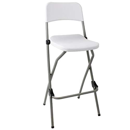 Bolero. 2 Taburetes altos, plegables, portátiles de alta, con asiento de plástico y marco de acero inoxidable, para la...