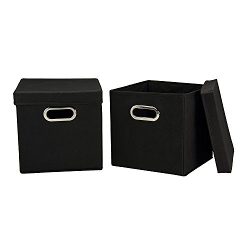 Household Essentials 34-1 Decorative Storage Cube Set with Removable Lids | Black | 2-Pack