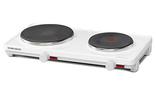 ROMMELSBACHER Automatik Doppelkochplatte AK 3080 - Gehäuse feueremailliert, weiß, stufenlos regelbar, 2 Heizplatten 145 mm - 1500 Watt / 180 mm - 1500 Watt