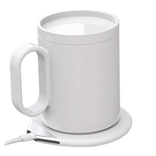 Almohadilla de calentador de taza eléctrica, 2 pulgadas 1 USB Copa eléctrica Calentador Teléfono Teléfono inalámbrico Cargador de la taza de la taza de calentamiento de la taza de té de café Taza para