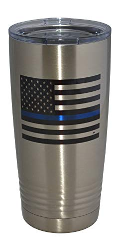 Thin Blue Line Flag Police Officer 20 Oz. Travel Tumbler Mug Cup w/Lid Vacuum Insulated Law Enforcement PD Gift
