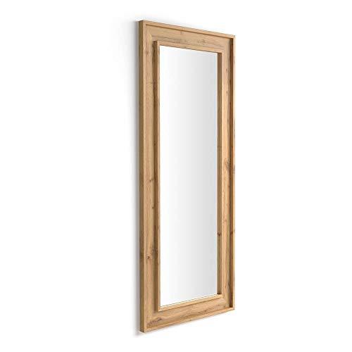 MOBILI FIVER, Espejo de Pared/Espejo de pie, Madera Rustica, 160 x 67 x 3,6 cm, Made in Italy