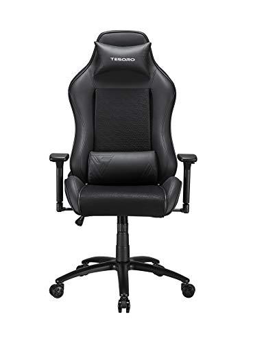 Tesoro Alphaeon S2 Schwarz/Black Gaming Stuhl F717 Gaming Chair Chefsessel Schreibtischstuhl mit PU Kunstleder und Lordosenstütze Lendenkissen Schwarz/Black